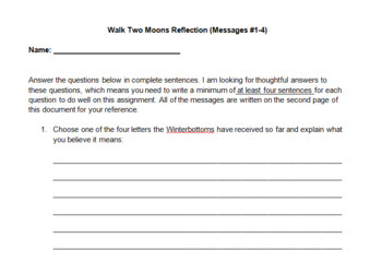 Walk Two Moons Message Reflection