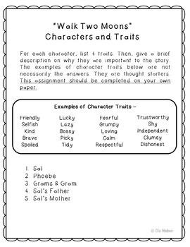 Walk Two Moons Novel Unit Study Activities, Book Companion Worksheets