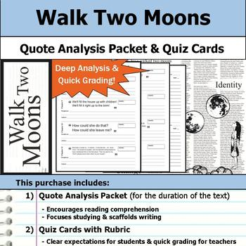 Walk Two Moons - Quote Analysis & Reading Quizzes