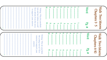 Walk Two Moons Student Bookmarks