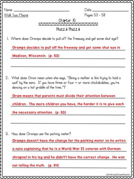 Walk Two Moons Student Comprehension Study Guide