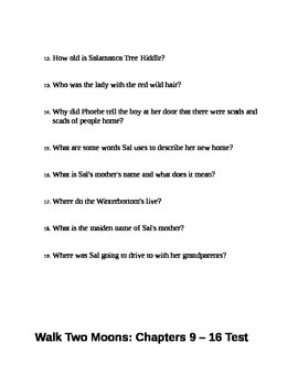 Walk Two Moons Tests