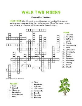 Walk Two Moons: Two Vocabulary Crosswords