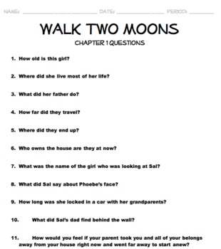 Walk Two Moons Unit-Chapter Questions