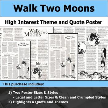 Walk Two Moons - Visual Theme and Quote Poster for Bulletin Boards