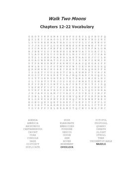 Walk Two Moons Vocabulary Word Search for Chapters 12-22