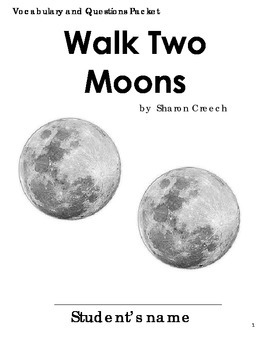 Walk Two Moons Vocabulary and Questions