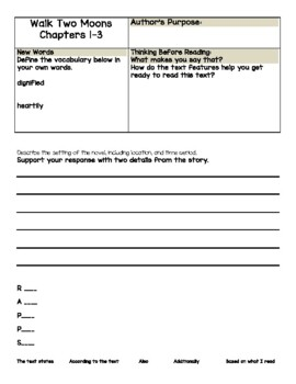 Walk Two Moons by Sharon Creech Print and Go Novel Study