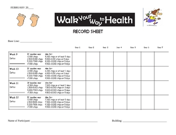 """Walk Your Way to Health """"Recording Sheets for Wellness activity"""""""
