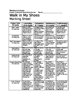 Walk in My Shoes Marking Sheet