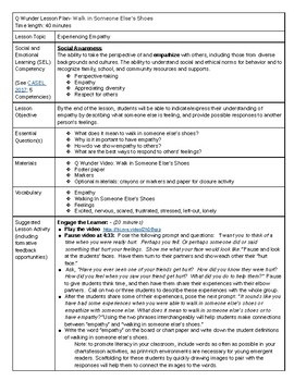 Walk in Someone Else's Shoes Q Wunder Lesson Plan