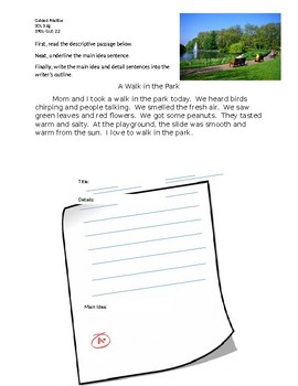 Walk in the Park Main Idea Guided Practice