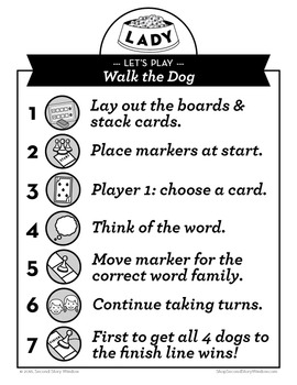 Walk the Dog Mixed Vowel Word Families Phonics Game - Words Their Way Game