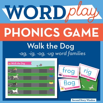 Walk the Dog Mixed Vowel Word Families Phonics Game
