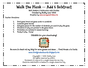 Walk the Plank -- Adding & Subtracting Doubles