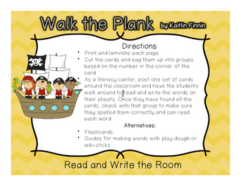 Walk the Plank! Pirate Themed Read and Write the Room