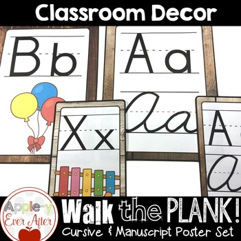 Walk the Plank Series - Wooden Alphabet Poster Sets Cursive & Manuscript