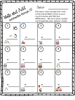 Walk the Room Math Fact Fluency Game Addition & Subtraction Through 20 Set 2