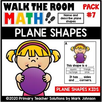 Walk the Room Math Pack 7: Geometry: Plane Shapes (K.G.A.1, K.G.A.2, K.G.A.3)