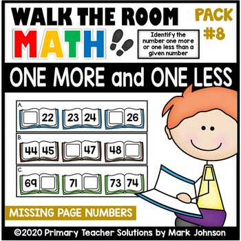 Walk the Room Math Pack 8: One More and One Less