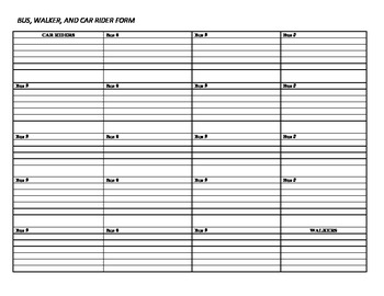 Walker, Car Rider, and Bus Number Tracking Form