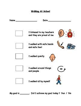 Walking At School Behaviour Checklist