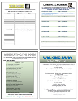 Walking Away - C.Day-Lewis - Comprehension Activities Booklet!