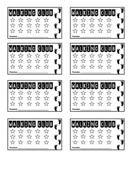 Walking Club Cards