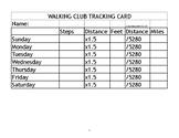 Walking Club Tracking Card