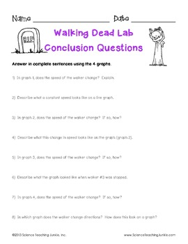 Walking Dead Lab (An Exploration of Speed, Velocity & Acceleration)