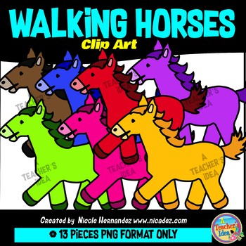 Walking Horses Clip Art Commercial Use