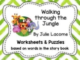 """Worksheets for use with """"Walking Through the Jungle"""" Book"""