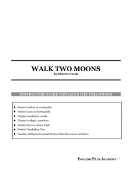 Walking Two Moons by Sharon Creech Novel Guide