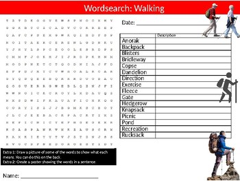 Walking Wordsearch Puzzle Sheet Keywords Physical Education Sport