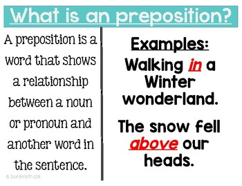 Walking in a Winter wonderland with Prepositions AND Prepositional Phrases