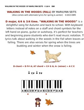 Walking in the Woods (Fall) - Easy song uses letter names not notes.