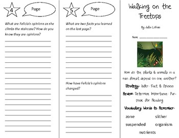 Walking on the Treetops Trifold - 4th Grade Literacy by Design Theme 11