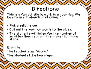 Walking with Syllables - or - Syllable Sort (Fall Theme)
