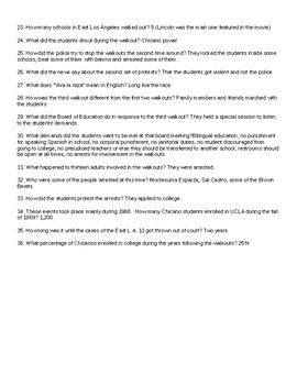 Walkout Movie Questions and Answer Key