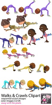 Walks and Crawls PE Fitness Clip Art