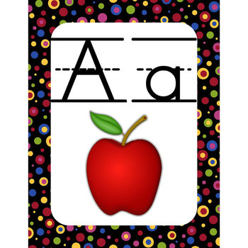 Wall Alphabet Cards (Primary Dots on Black) (Lined Manuscript Font)