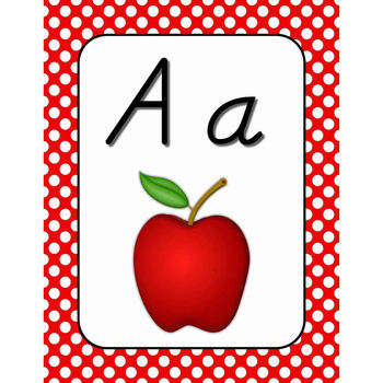Wall Alphabet Cards  (White Dots on Primary Background)  (D'nealian)