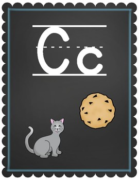 Wall Alphabet Chart ~~ Chalkboard and Blue ~~ A-Z