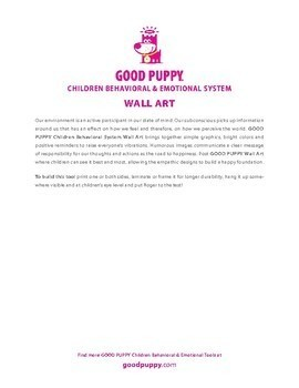 Wall Art . A . Child Behavioral & Emotional Tools by GOOD PUPPY