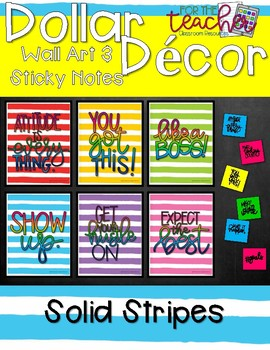 Wall Art & Sticky Notes {Solid Stripes}