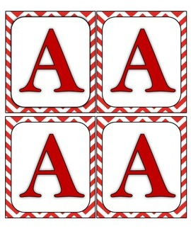 Wall Boggle - Red Chevron/Red Letters