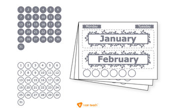 Wall Calendar (Digital Printout)-Gray