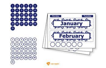 Wall Calendar (Digital Printout)-Navy Blue