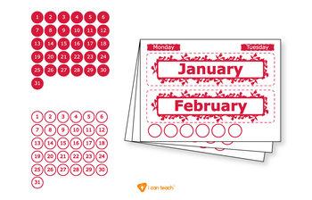 Wall Calendar (Digital Printout)-Red