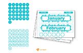 Wall Calendar (Digital Printout)-Turquoise